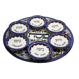 93923_armenian_ceramic_seder_plate_with_anemones_floral_design_view_1